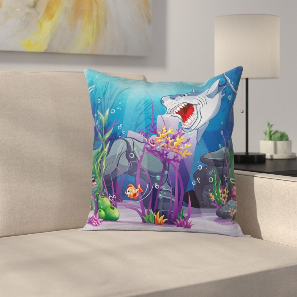 Cartoon Evil Shark Little Fish Square Pillow Cover Size: 20