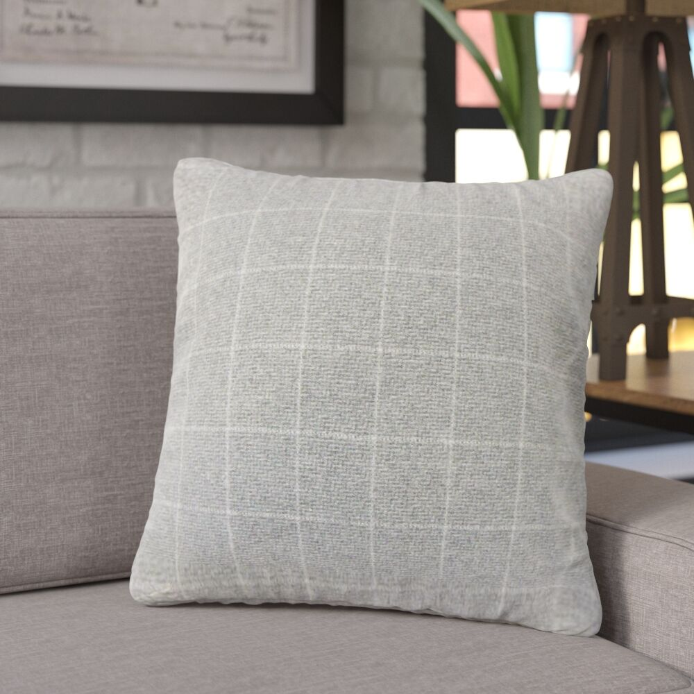 Janvier Plaid Throw Pillow Color: Gray