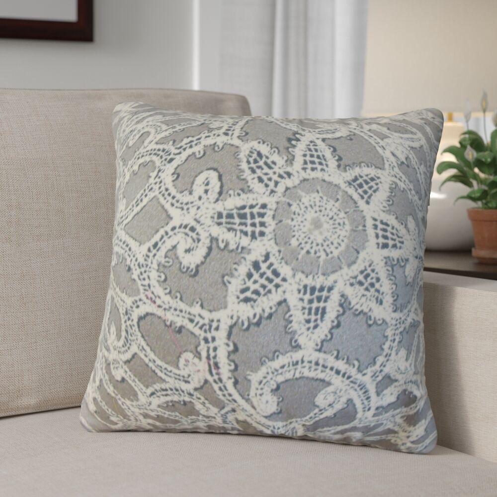 Giao Geometric Cotton Throw Pillow Color: Platinum