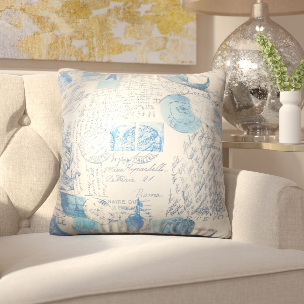Amaker Typography Cotton Throw Pillow Color: Blue