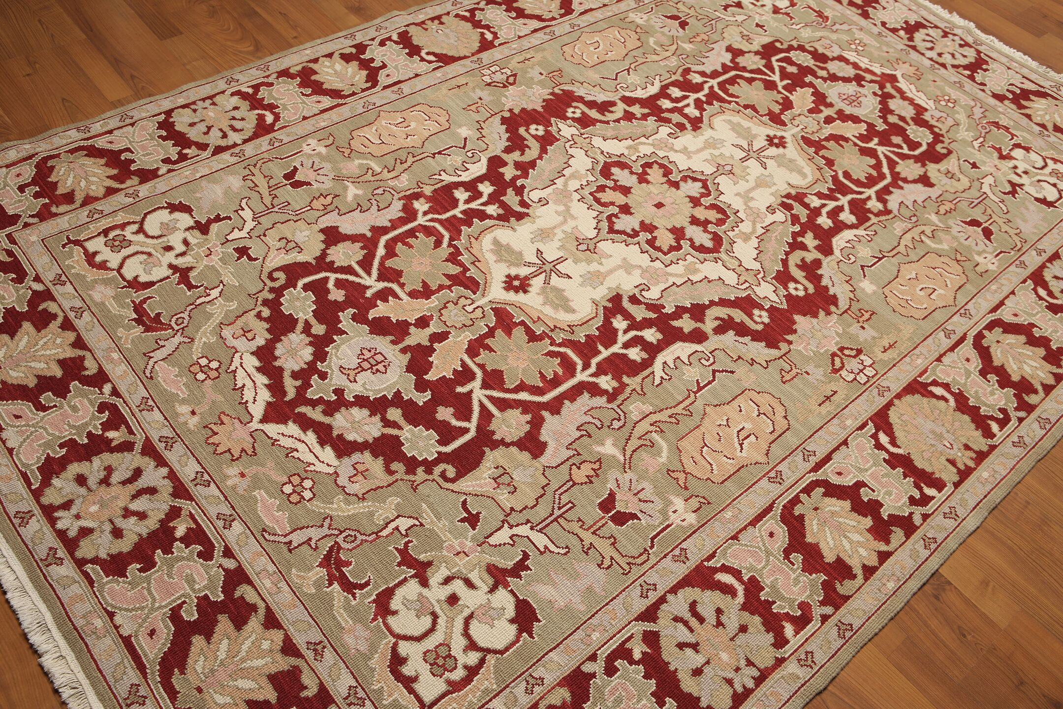 One-of-a-Kind Hameldon Hand-Knotted Wool Red/Ivory Area Rug