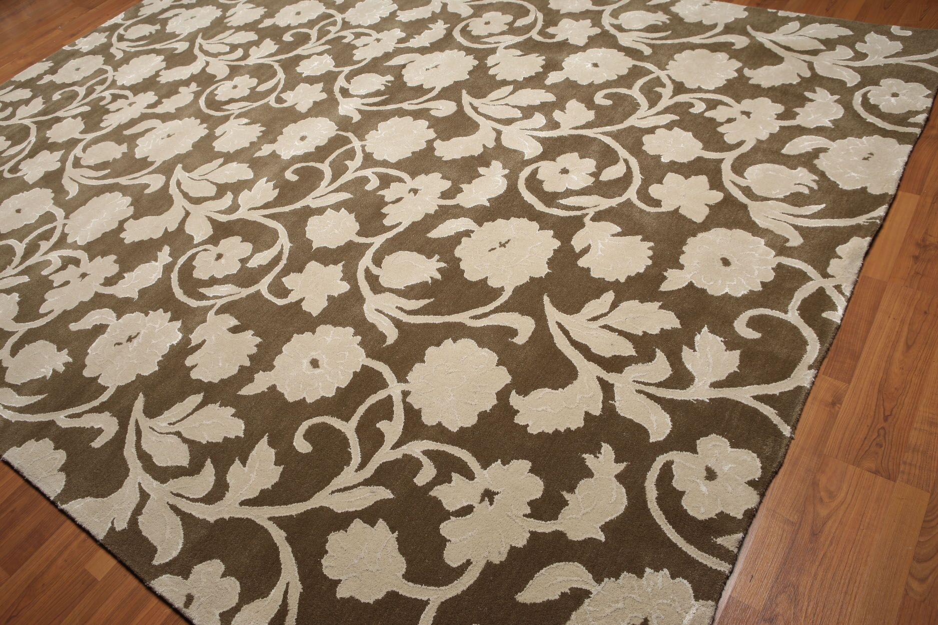 One-of-a-Kind Eckhart Hand-Knotted Olive/Beige Area Rug