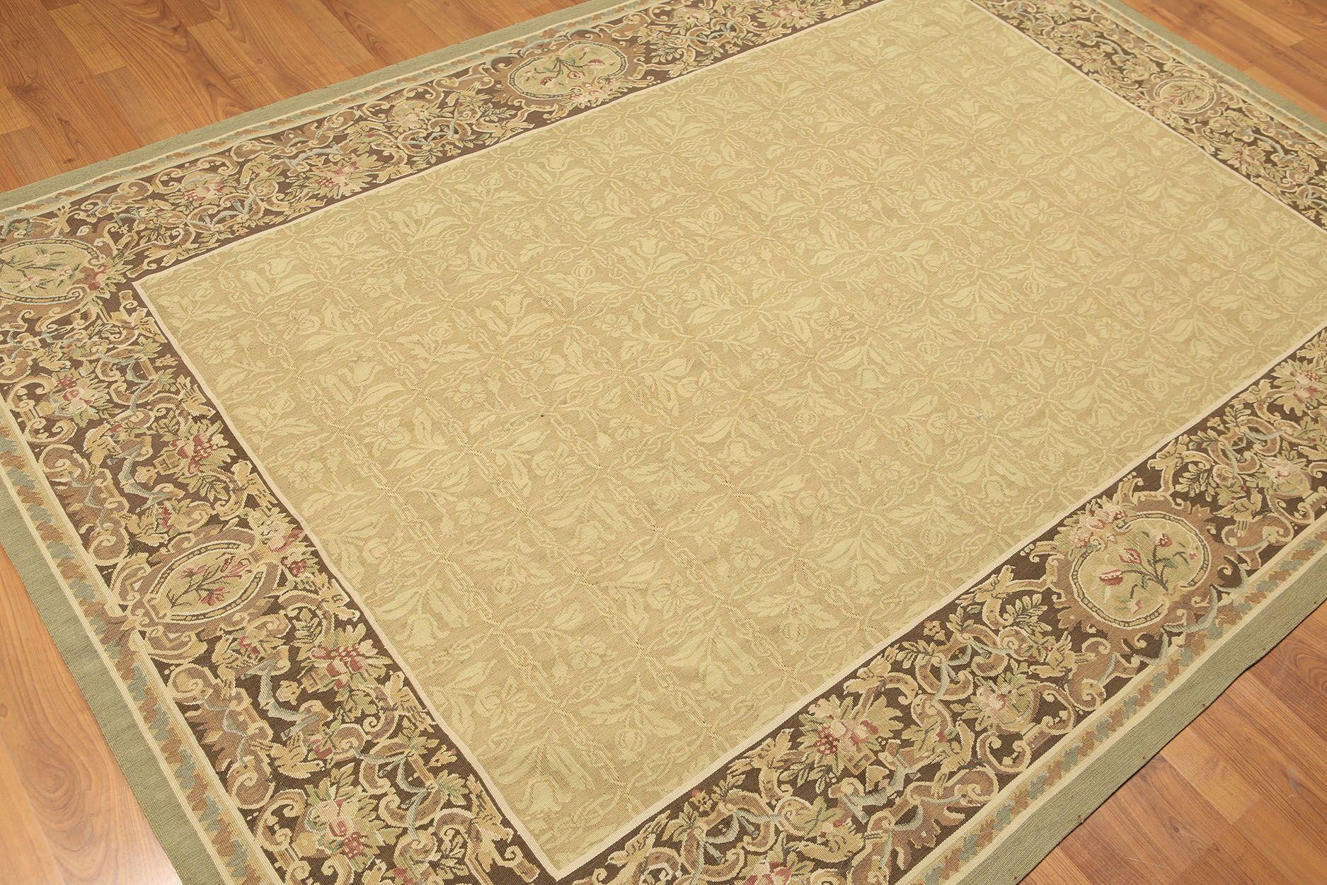 One-of-a-Kind Persian Aubushan Oriental Hand-Woven Wool Greenish Gold/Chocolate Area Rug