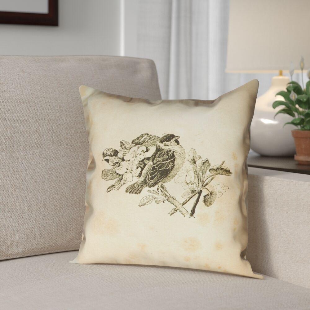 Venezia Vintage Bird Outdoor Throw Pillow Size: 18