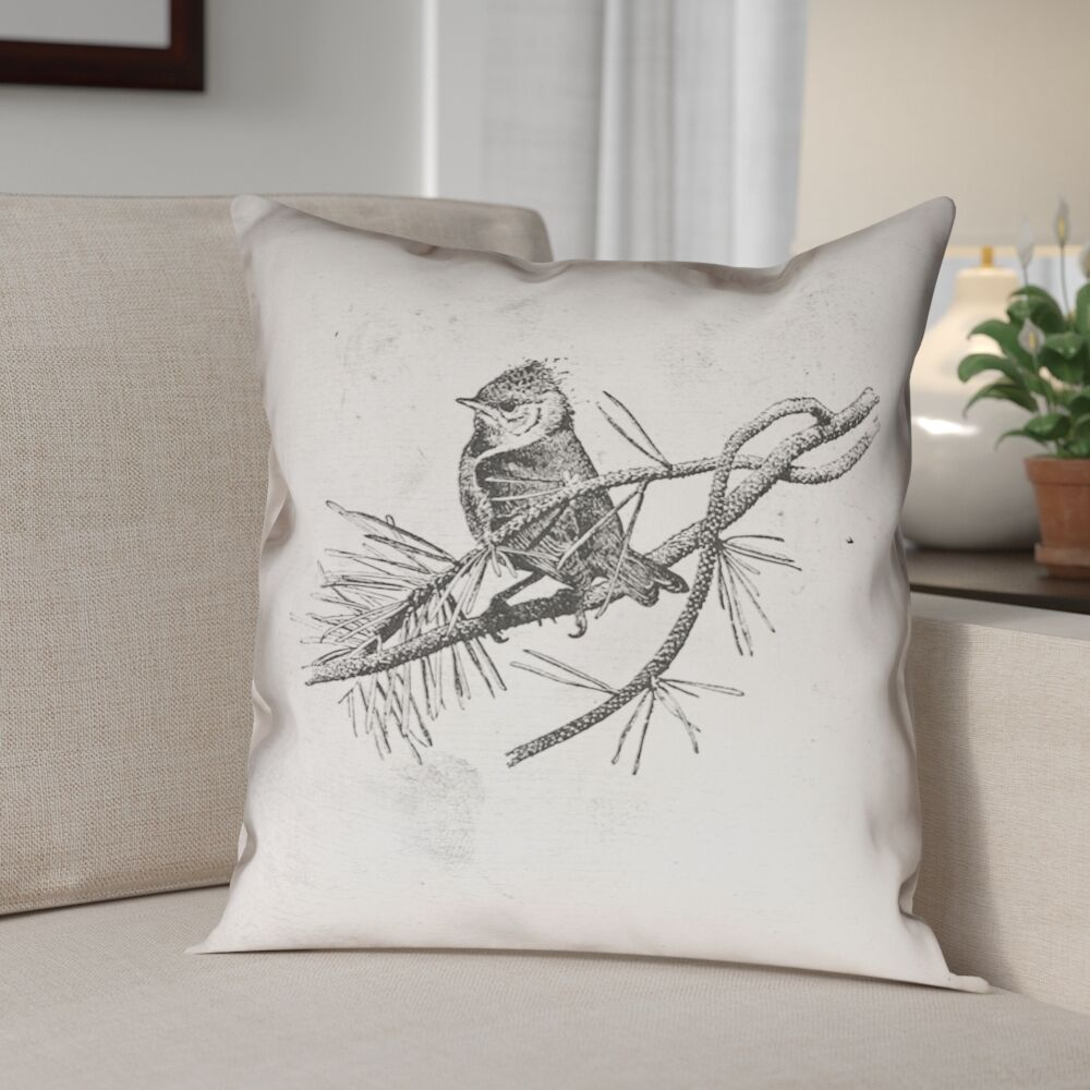 Venezia Vintage Bird Pillow Cover Size: 14