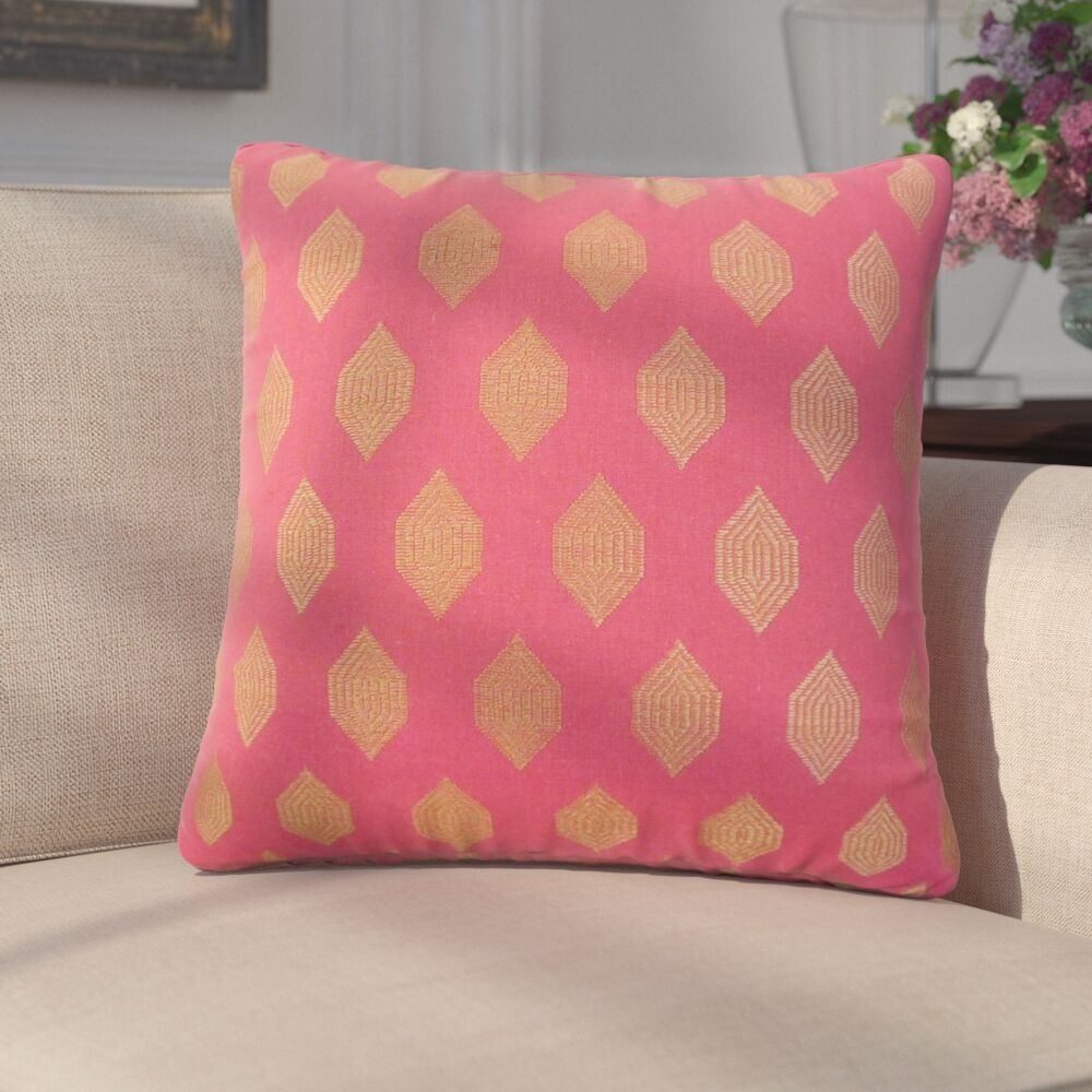 Dorotea Geometric Linen Throw Pillow Color: Pink