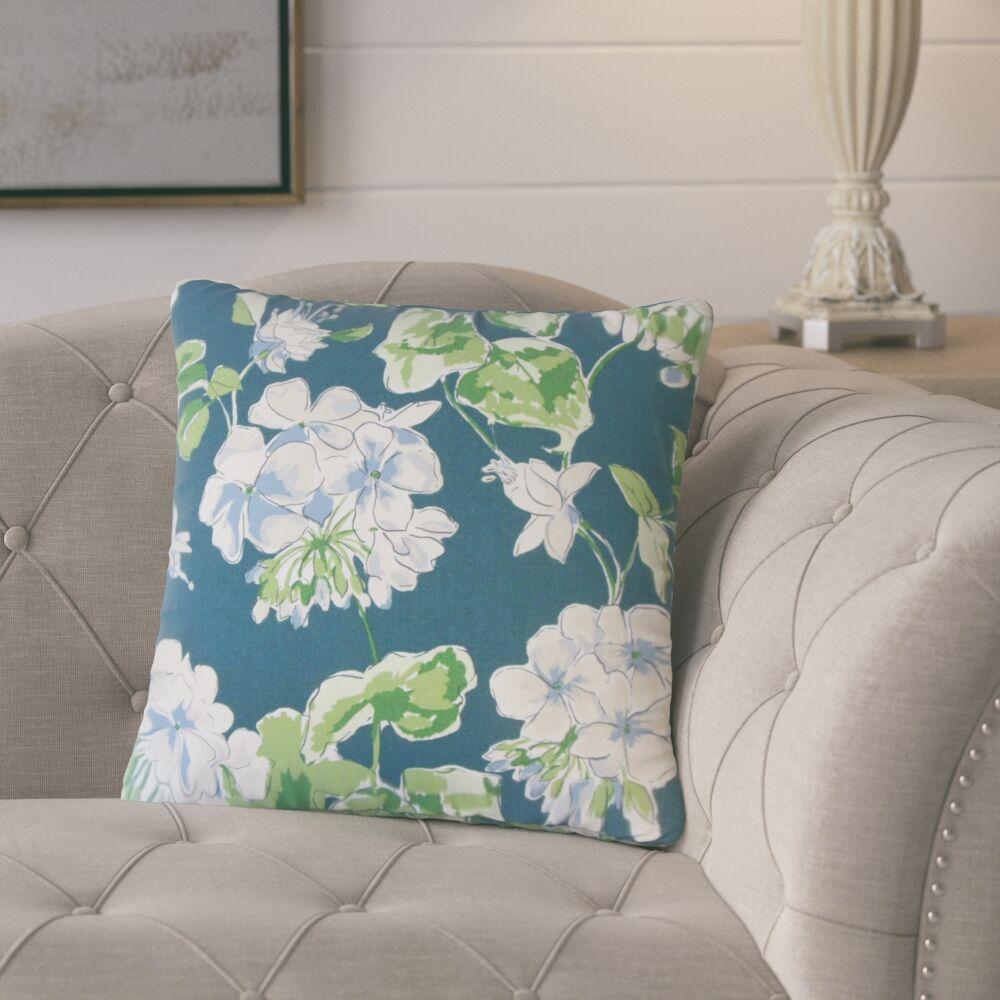 Bethzy Floral Cotton Throw Pillow Color: Lagoon