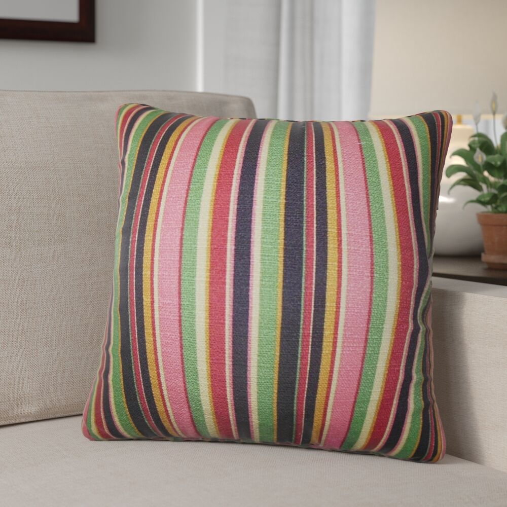 Pemberton Stripes Cotton Throw Pillow Color: Pink, Size: 22