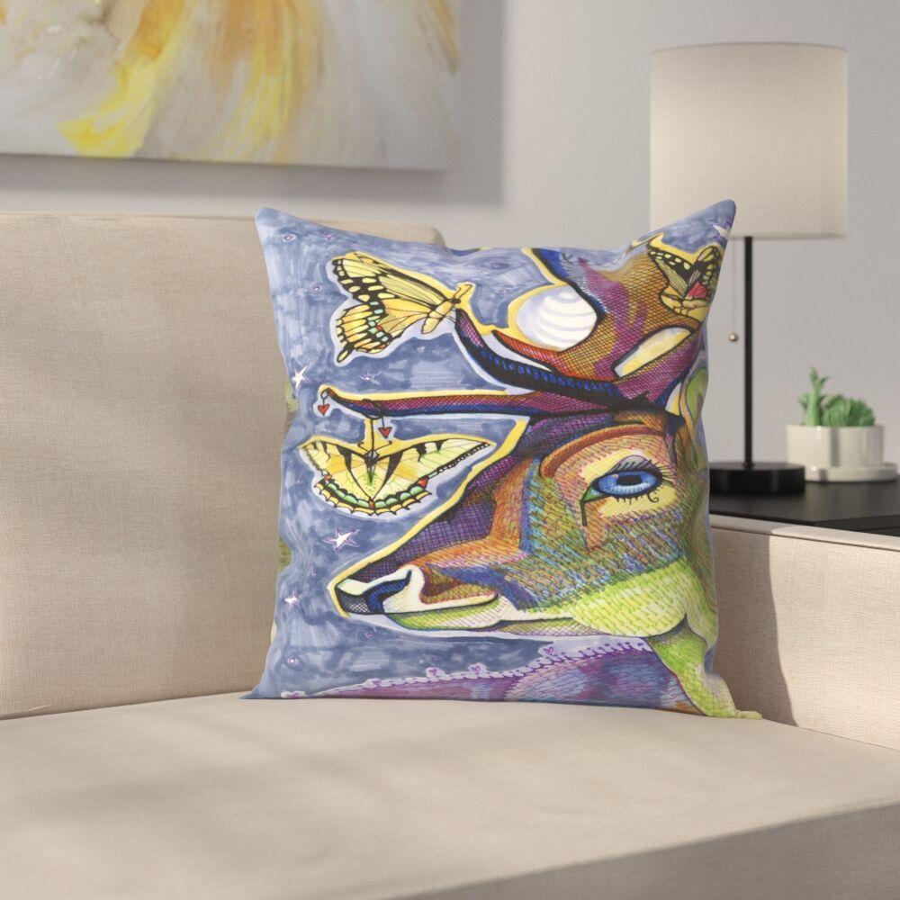 Deer with Butterflies Throw Pillow Size: 16