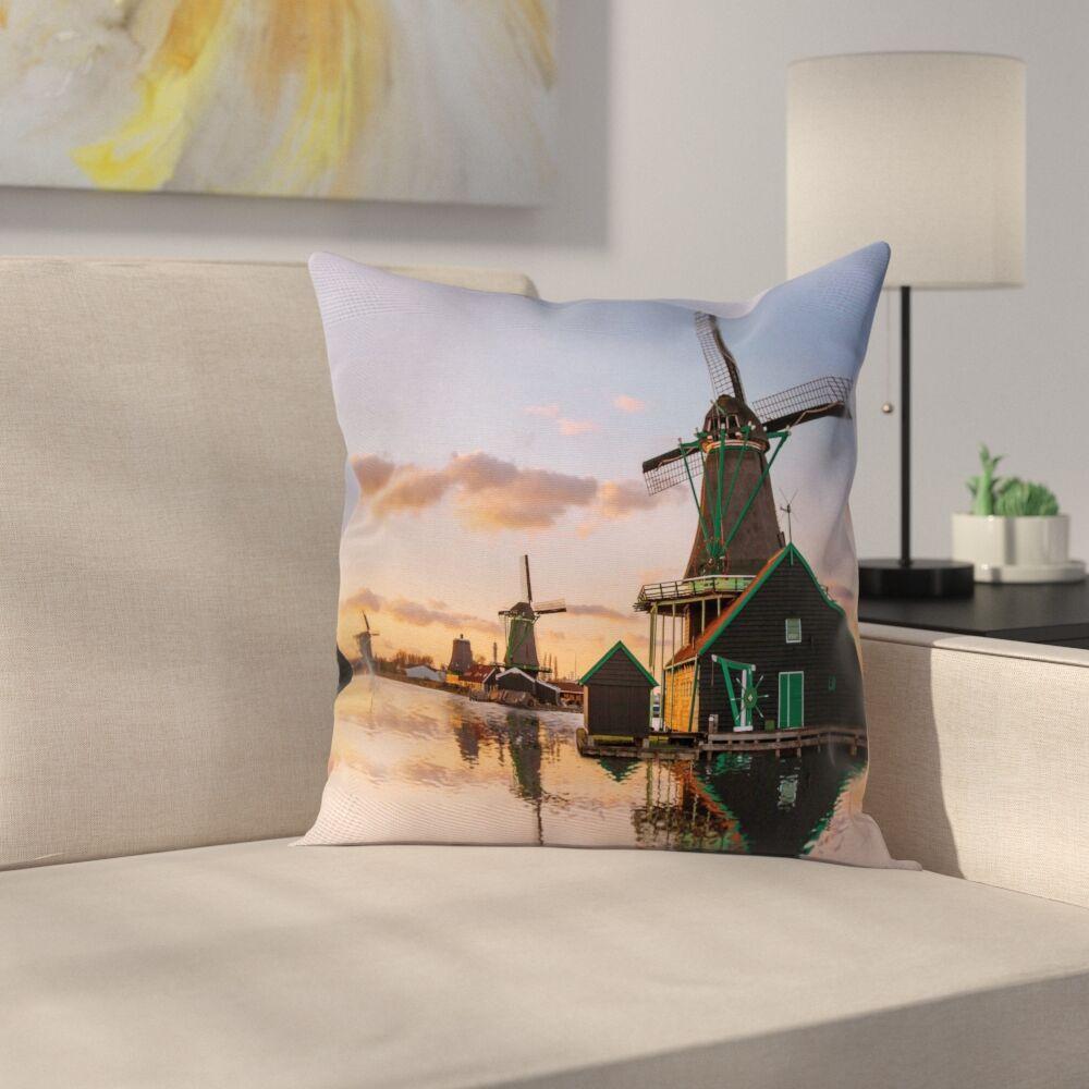 Windmill Decor Scenic Canal Square Pillow Cover Size: 20