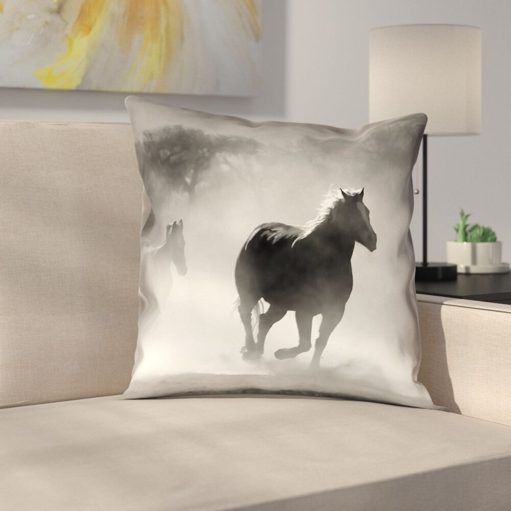 Aminata Galloping Horses Double Sided Print Indoor Pillow Cover Size: 26