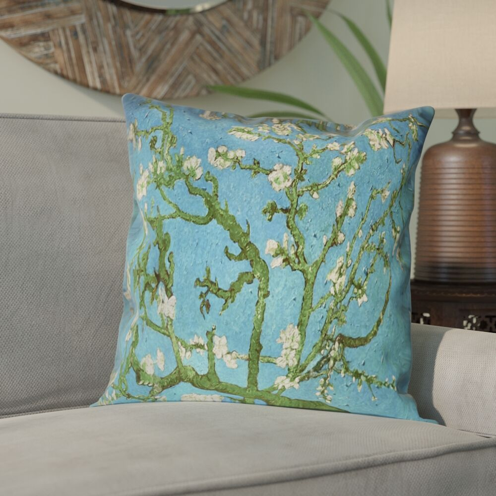 Lei Almond Blossom Suede Pillow Cover Color: Blue/Yellow