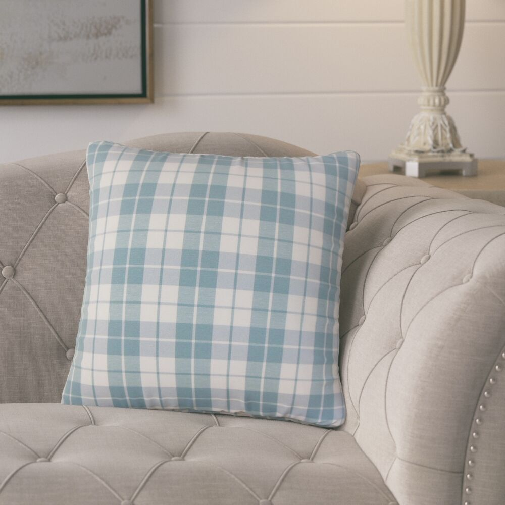 Schwaller Plaid Cotton Throw Pillow Color: Sea