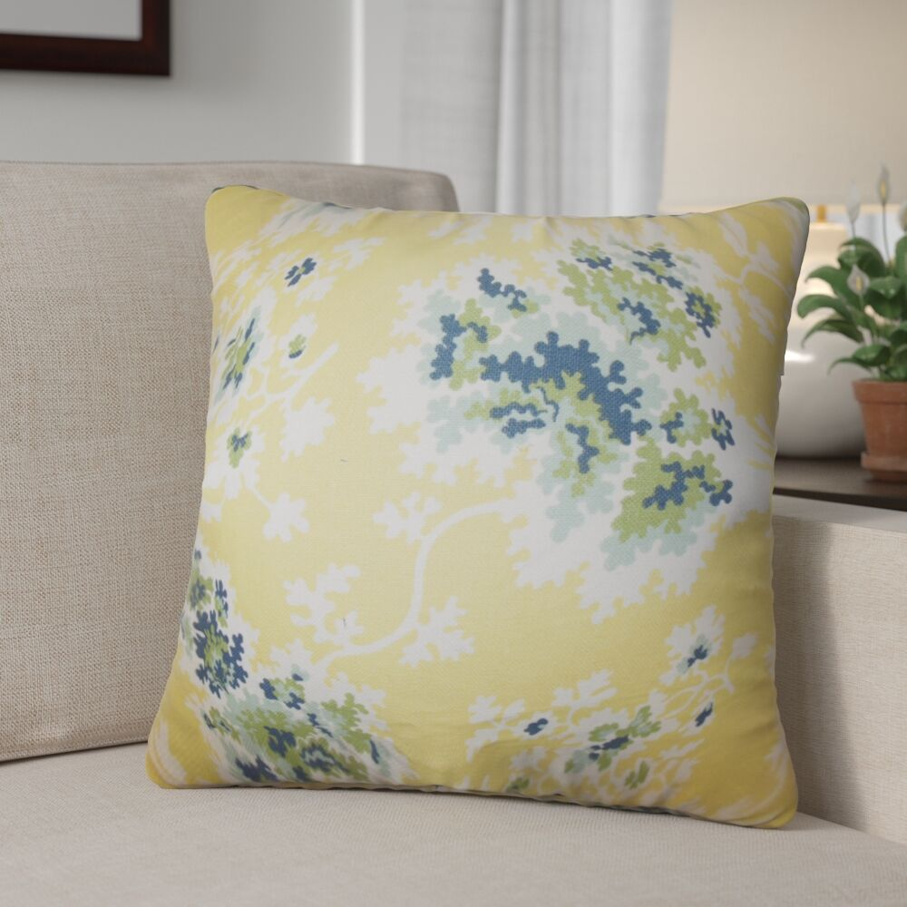 Murley Floral Cotton Throw Pillow Color: Lemon
