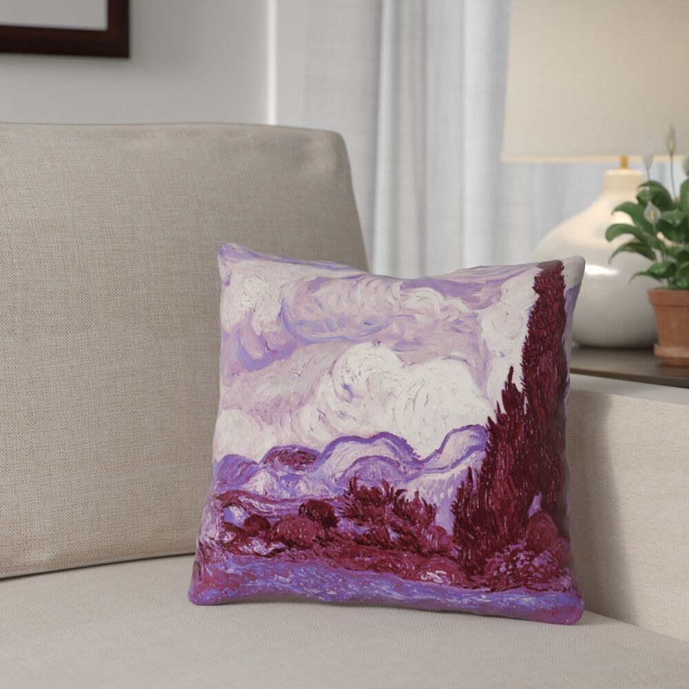 Lapine Mauve Wheatfield with Cypresses Square Linen Throw Pillow Size: 16