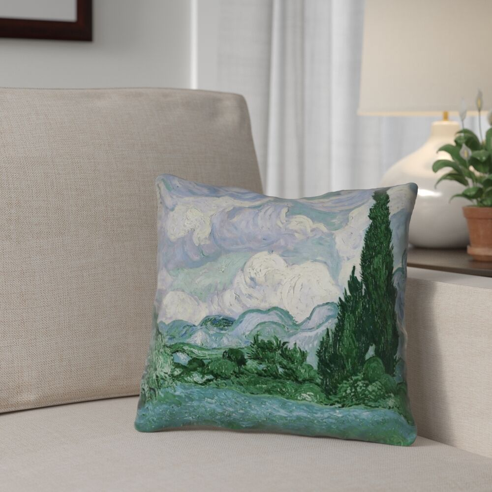 Meredosia Wheat Field with Cypresses Faux Linen Throw Pillow Size: 14