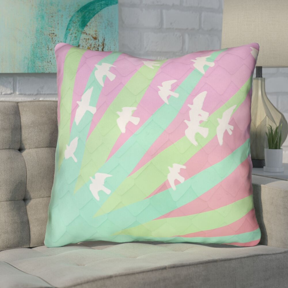 Enciso Birds and Sun Throw Pillow with Zipper Size: 16