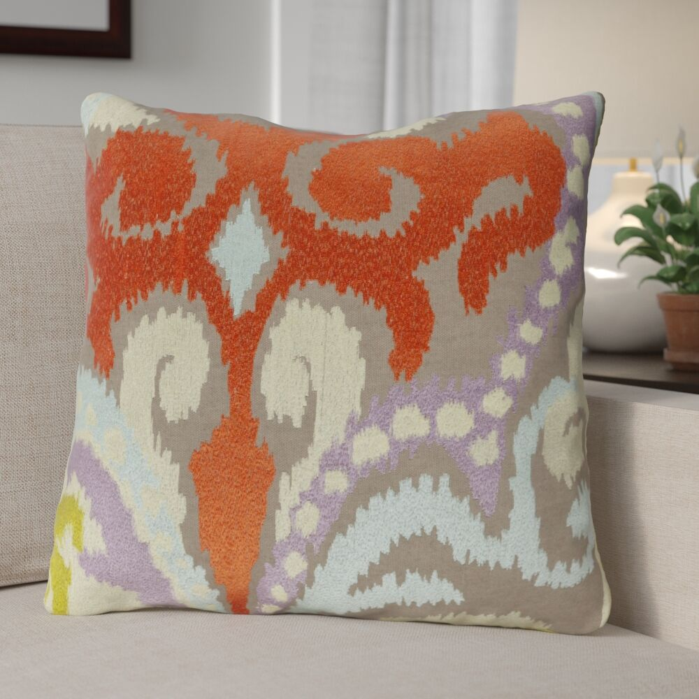 Claysburg Throw Pillow Color: Neutral / Orange, Fill Material: Down