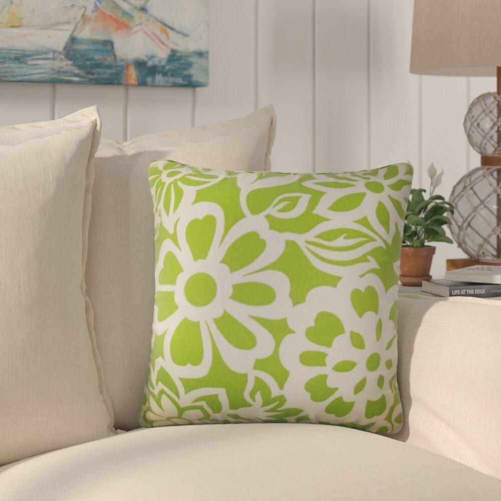Jinn Floral Cotton Throw Pillow Color: Green