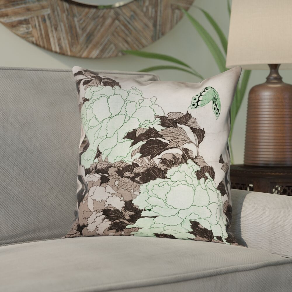 Clair Peonies with Butterfly Square 100% Cotton Pillow Cover Size: 26