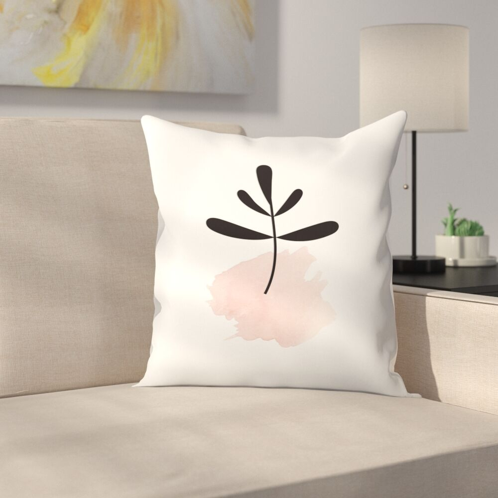 Pink Leaf Throw Pillow Size: 16