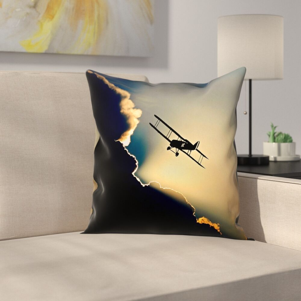 Plane in the Clouds Indoor Pillow Cover Size: 20