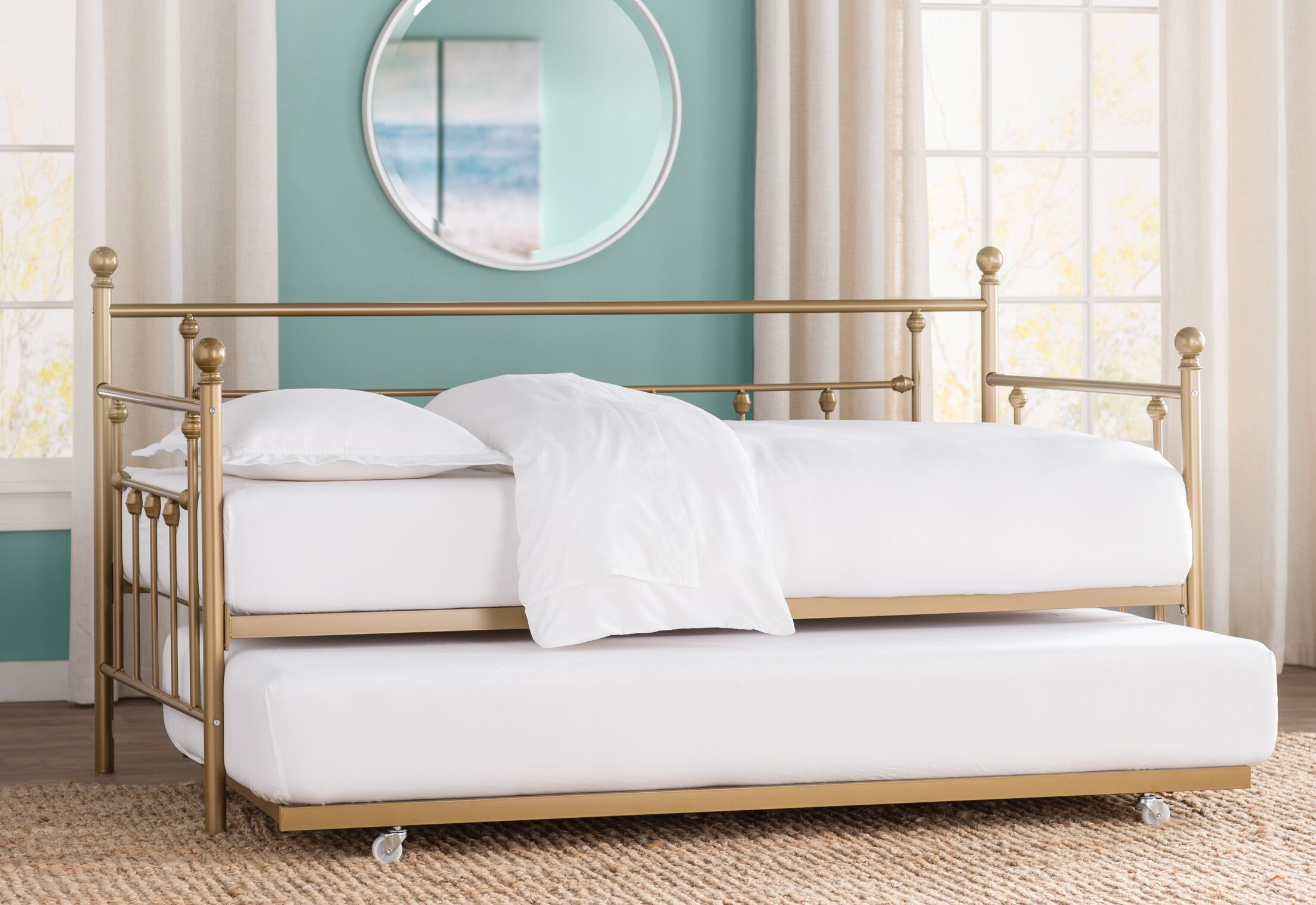 McCarthy Daybed with Trundle Size: Twin, Finish: Gold