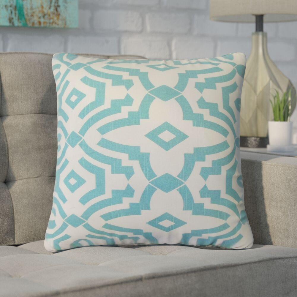 Bramblett Geometric Cotton Throw Pillow Color: Blue