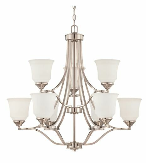 Woollard 9-Light Shaded Chandelier Finish: Bright Satin Nickel