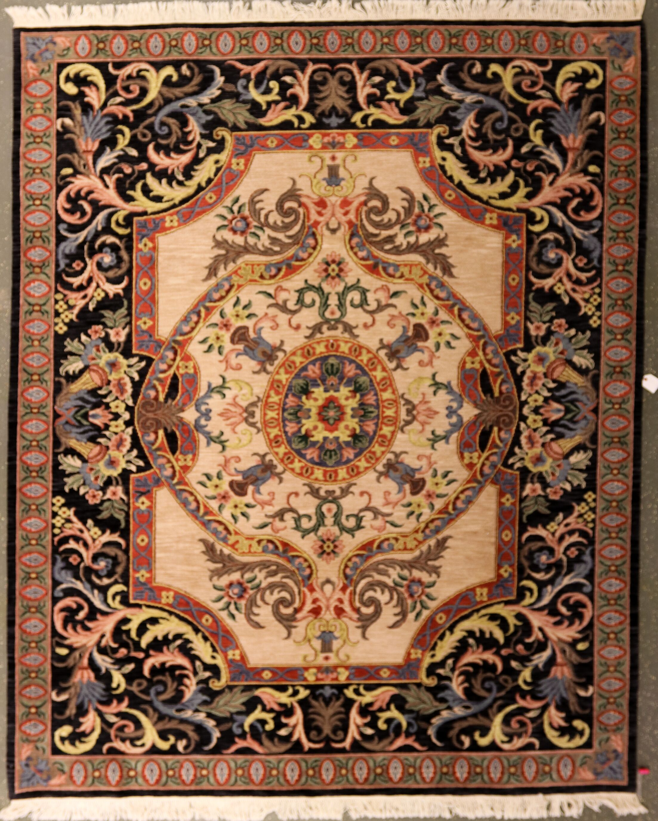Oday One-of-a-Kind Indian Aubusson Hand-Knotted Wool Beige/Black Area Rug