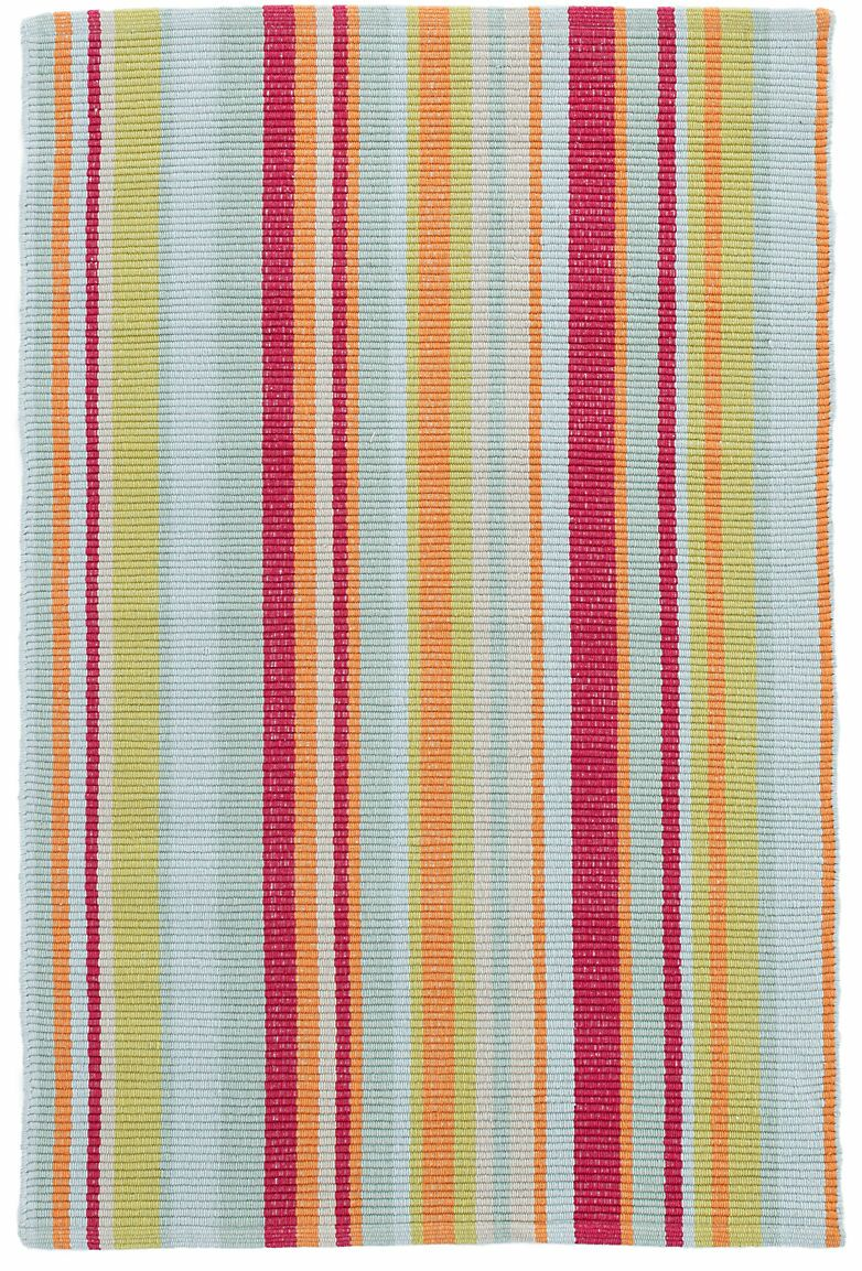 Clara Stripe Hand-Woven Cotton Red/Yellow Area Rug Rug Size: Rectangle 4' x 6'