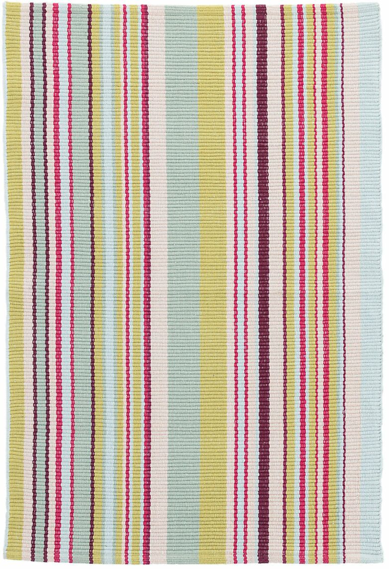Joelle Stripe Hand-Woven Cotton Blue/Green Area Rug Rug Size: Runner 2'6