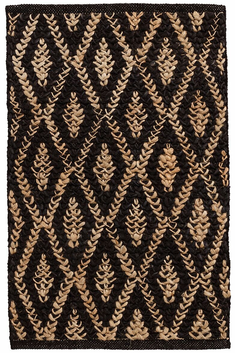 Two-Tone Diamond Hand-Woven Black Area Rug Rug Size: Runner 2'6