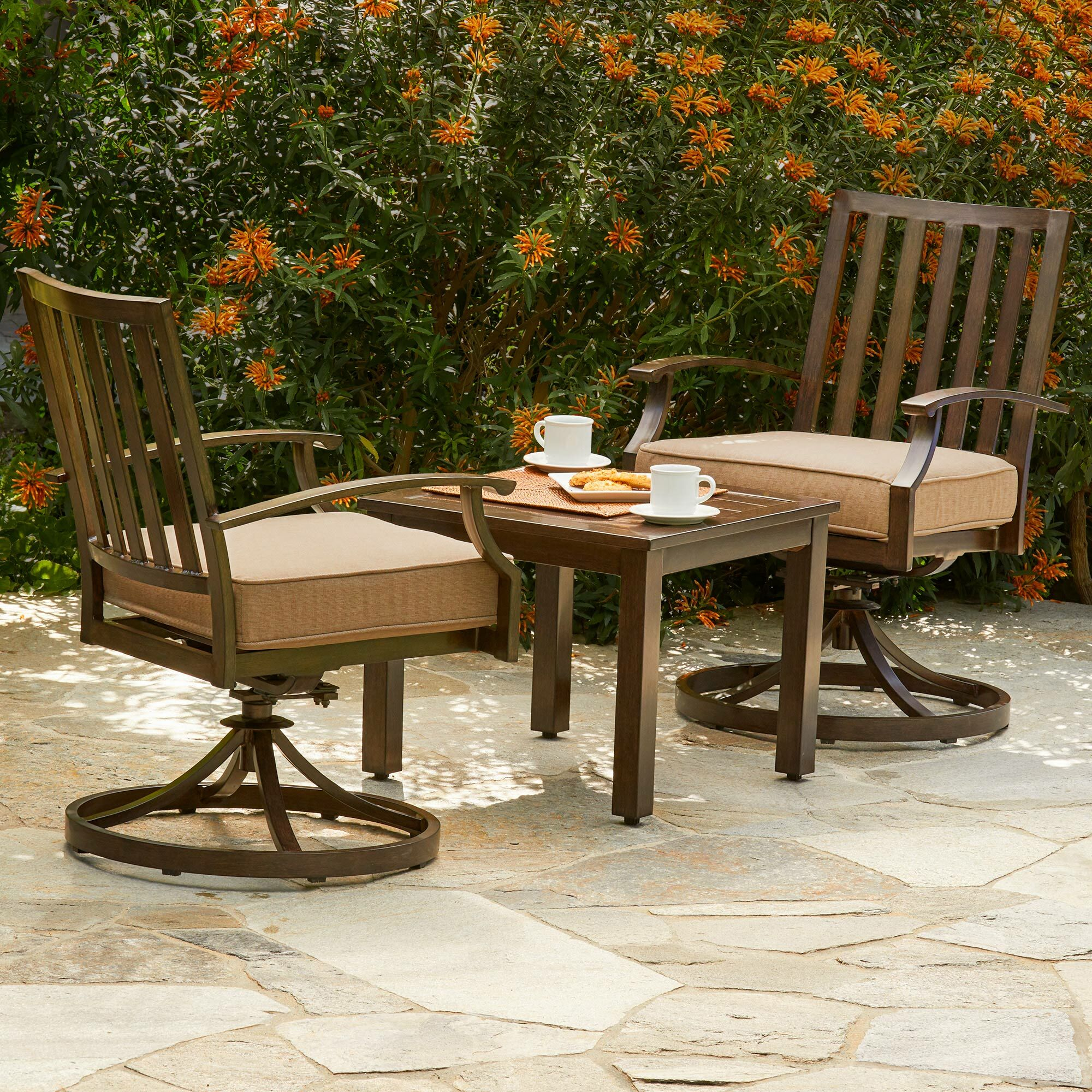 Yandel Bridgeport 3 Piece Bistro Set with Cushions Cushion Color: Tan