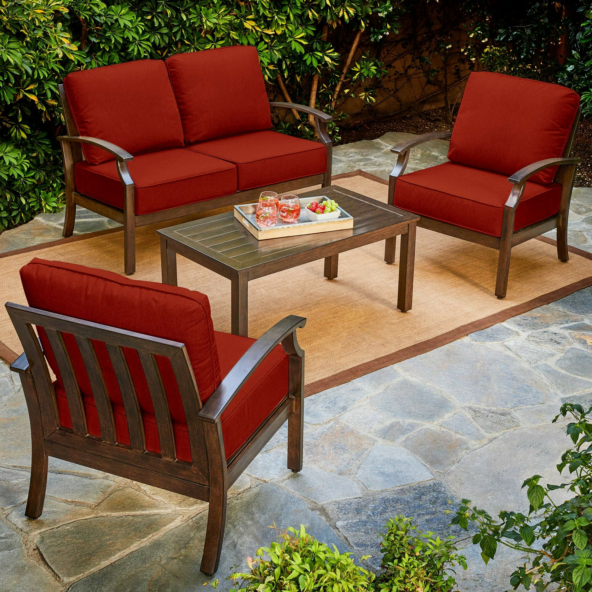 Yandel Bridgeport 4 Piece Conversation Set with Cushions Cushion Color: Red