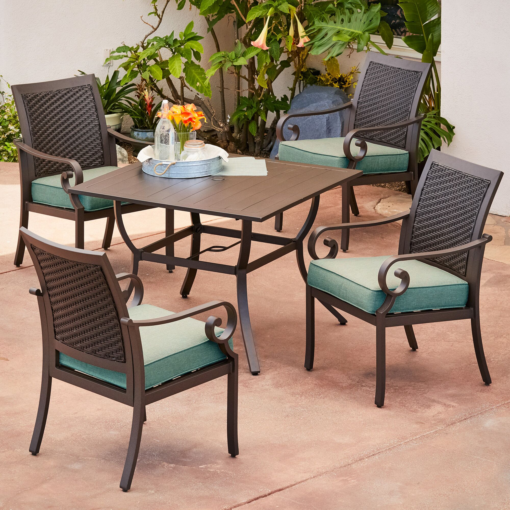 Kingston Seymour Milano 5 Piece Dining Set With Cushions Cushion Color: Teal