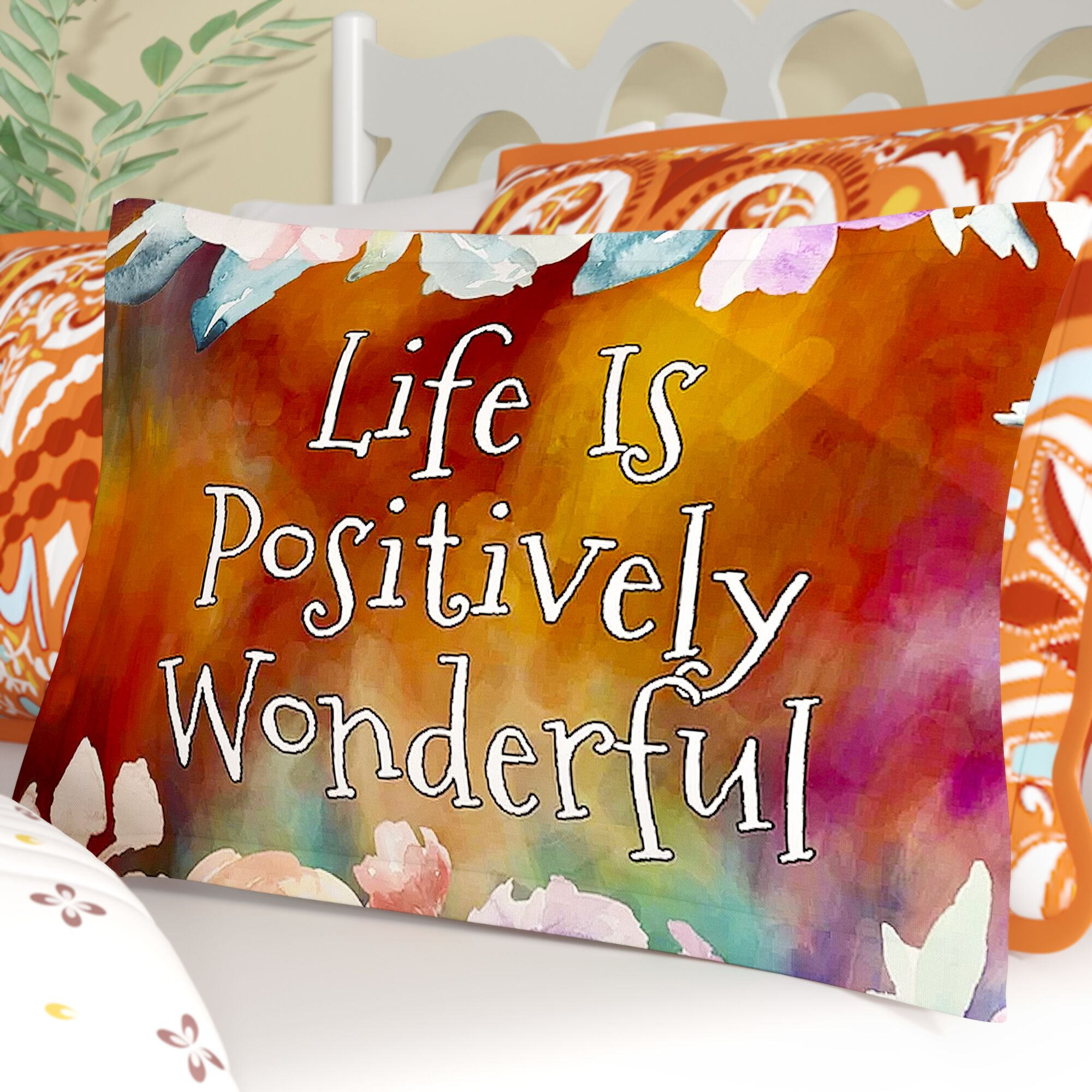 AlyZen Moonshadow 'Life is Positively Wonderful 1' Digital Sham Size: Queen