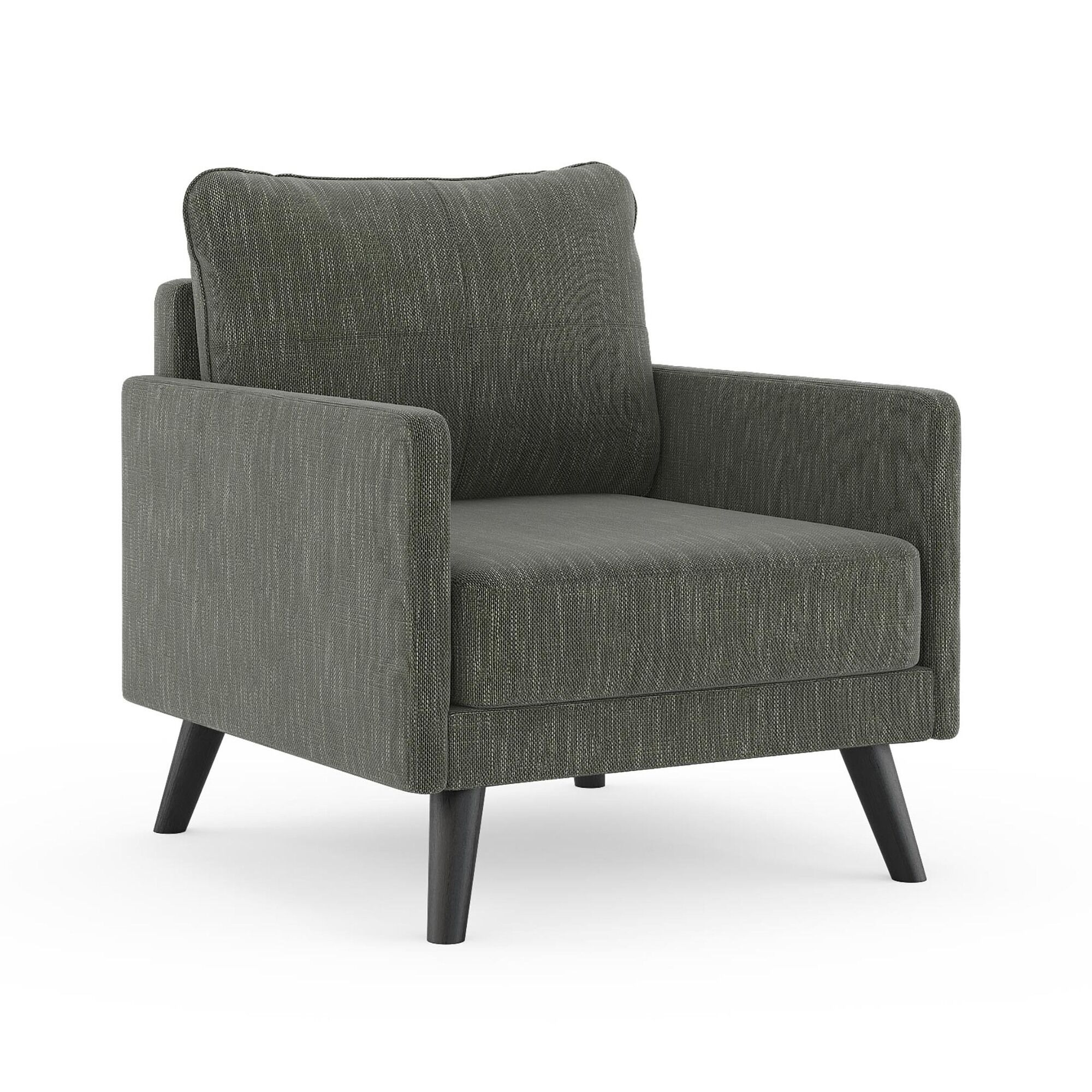 Crisman Armchair Finish: Black, Upholstery: Spruce Gray