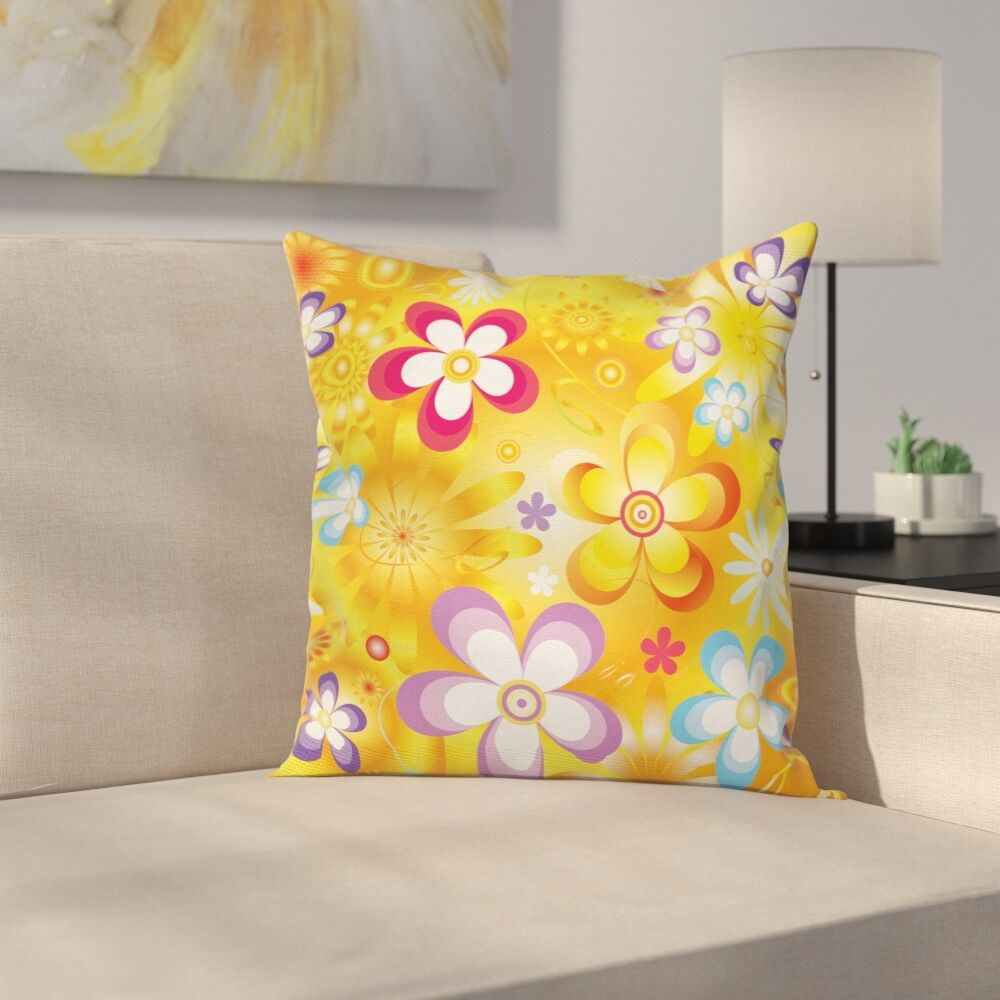 Stain Resistant Floral Square Pillow Cover Size: 16