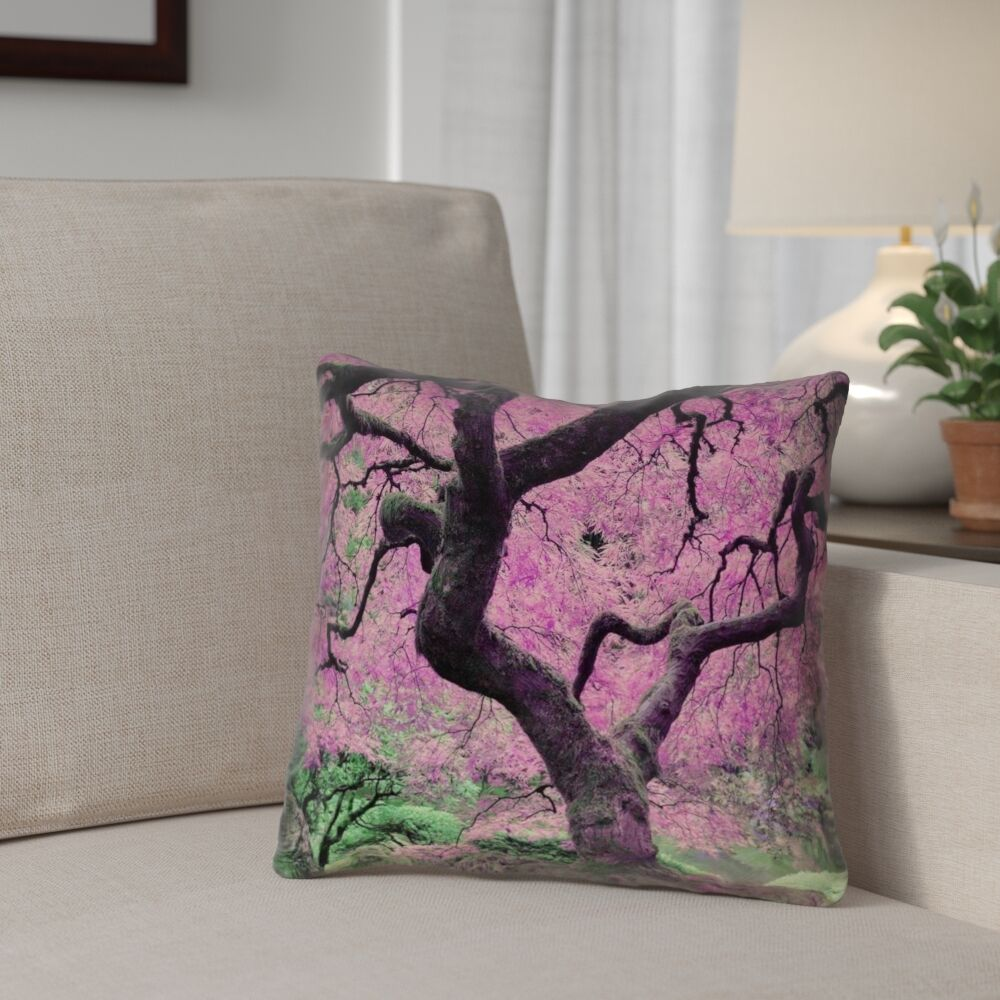 Ghost Train Japanese Maple Tree Linen Throw Pillow Size: 16