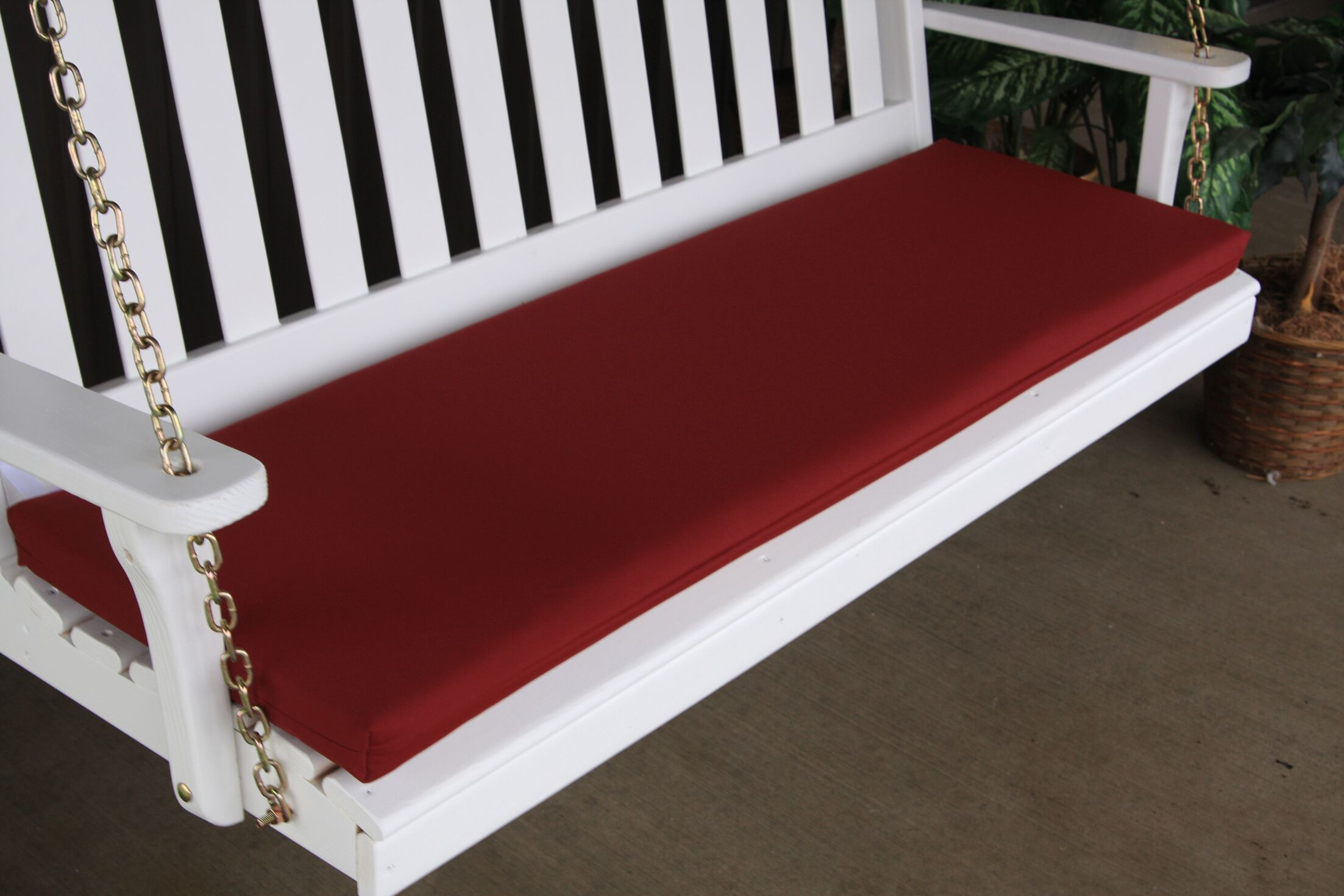 Indoor/Outdoor Bench Cushion Fabric: Burgundy, Size: 2