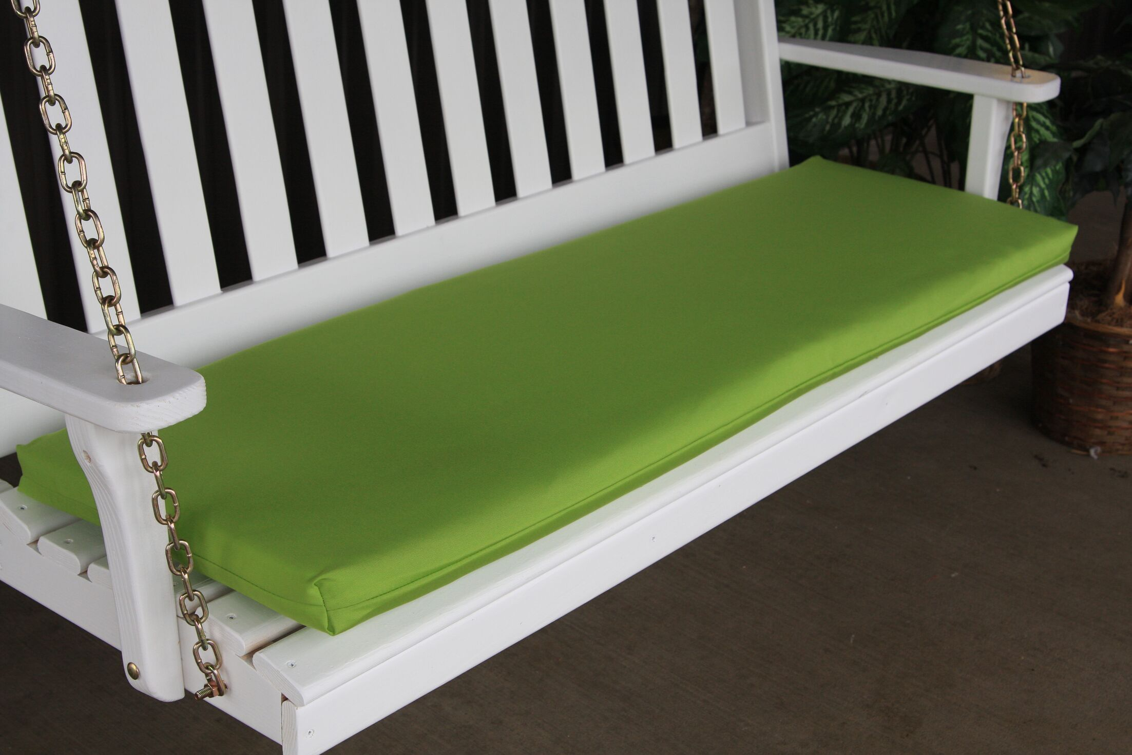 Indoor/Outdoor Bench Cushion Fabric: Lime Green, Size: 2