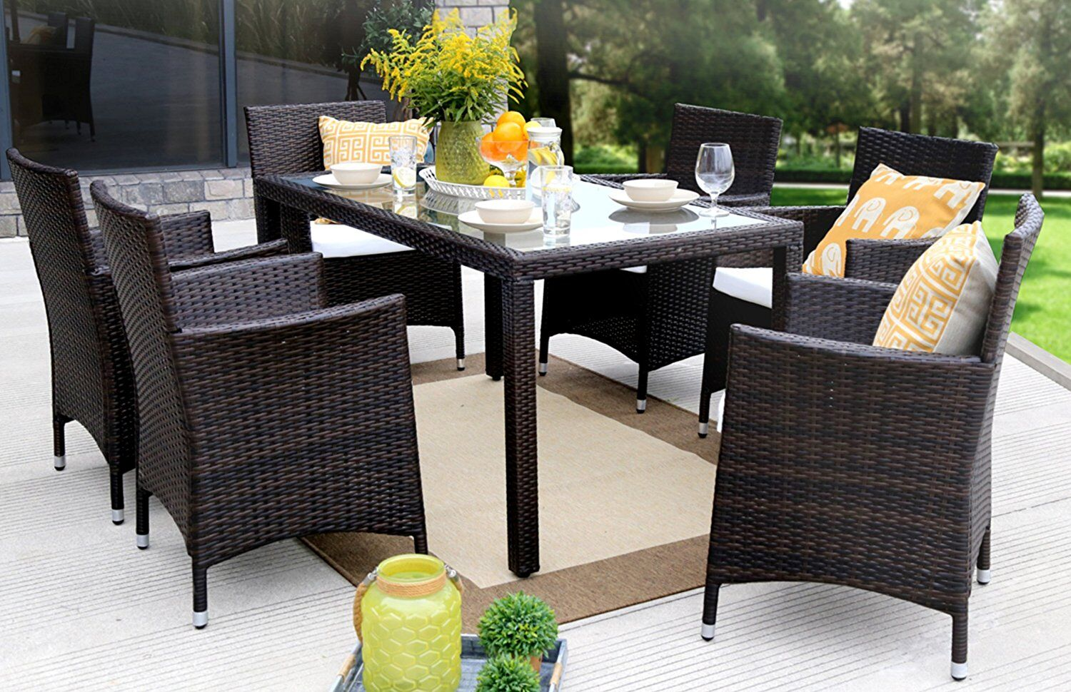 Leidig Outdoor Complete 7 Piece Dining Set Color: Brown