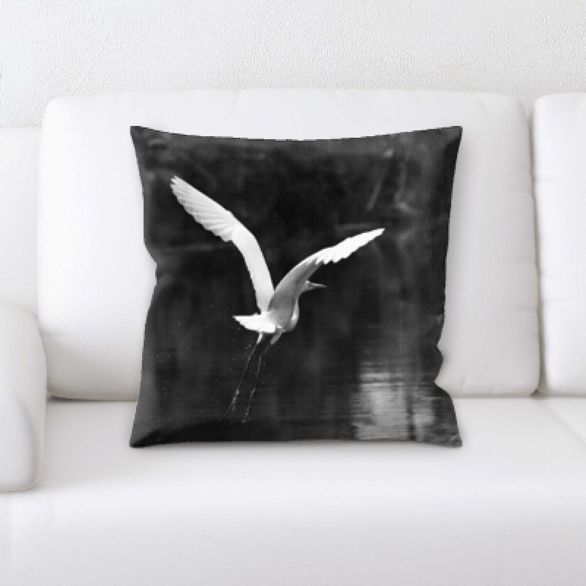 Cirillo Bird Flying Over The River Throw Pillow