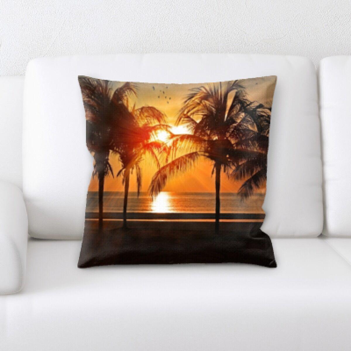 Broadbay Bird Flying Sunset Throw Pillow