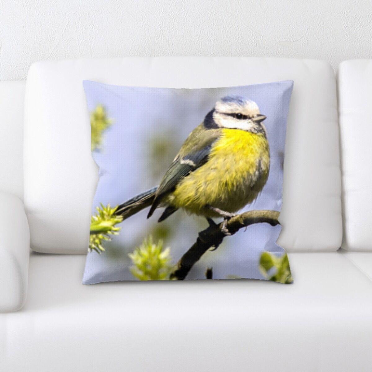 Chagoya Bird Sitting on a Tree Branch Throw Pillow