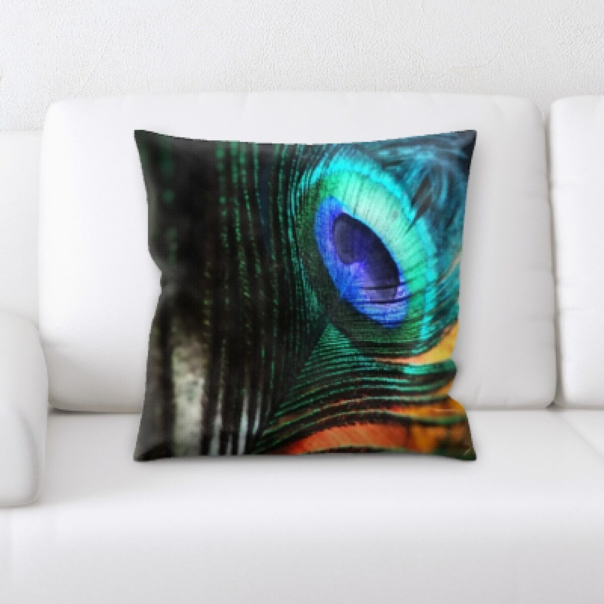Hollenbeck Peacock Feathers Throw Pillow