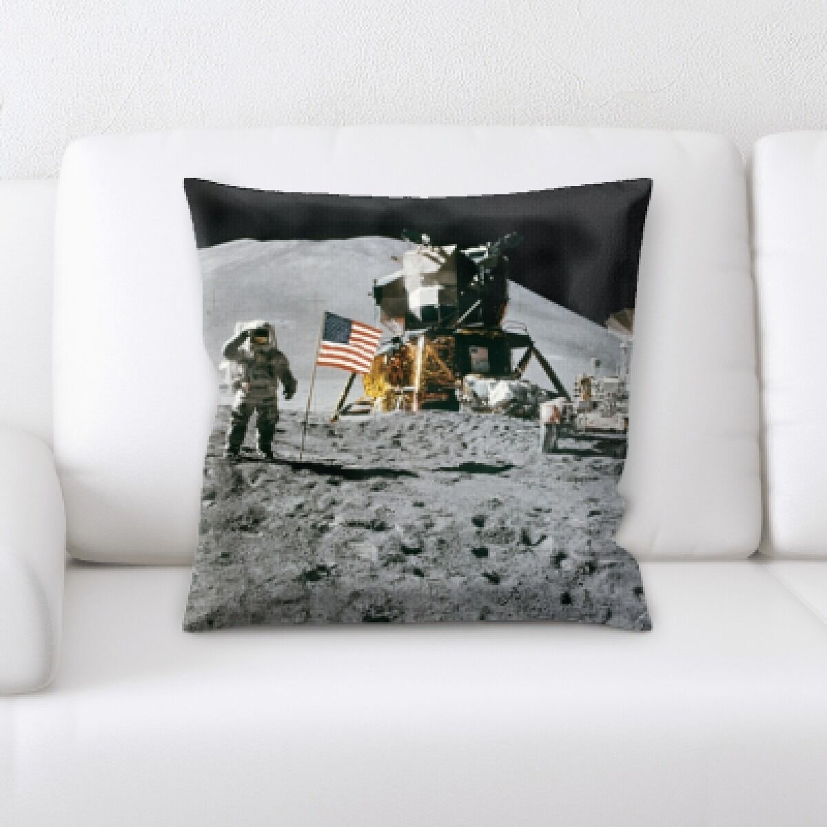 Berrien Man on The Moon With The Us Flag Throw Pillow