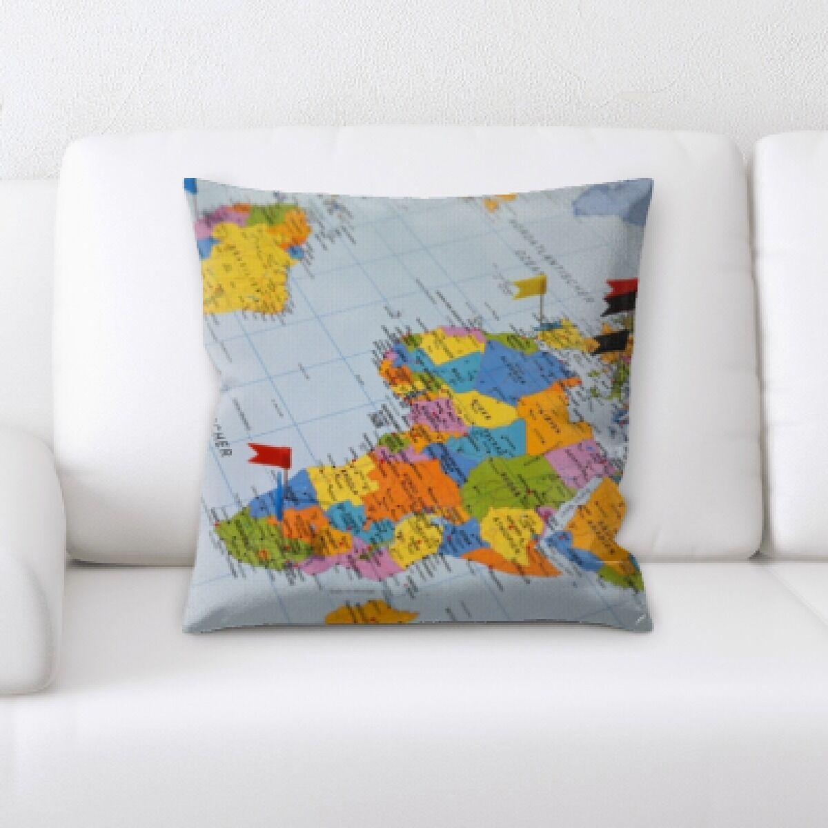 Berrier Flag Map Throw Pillow