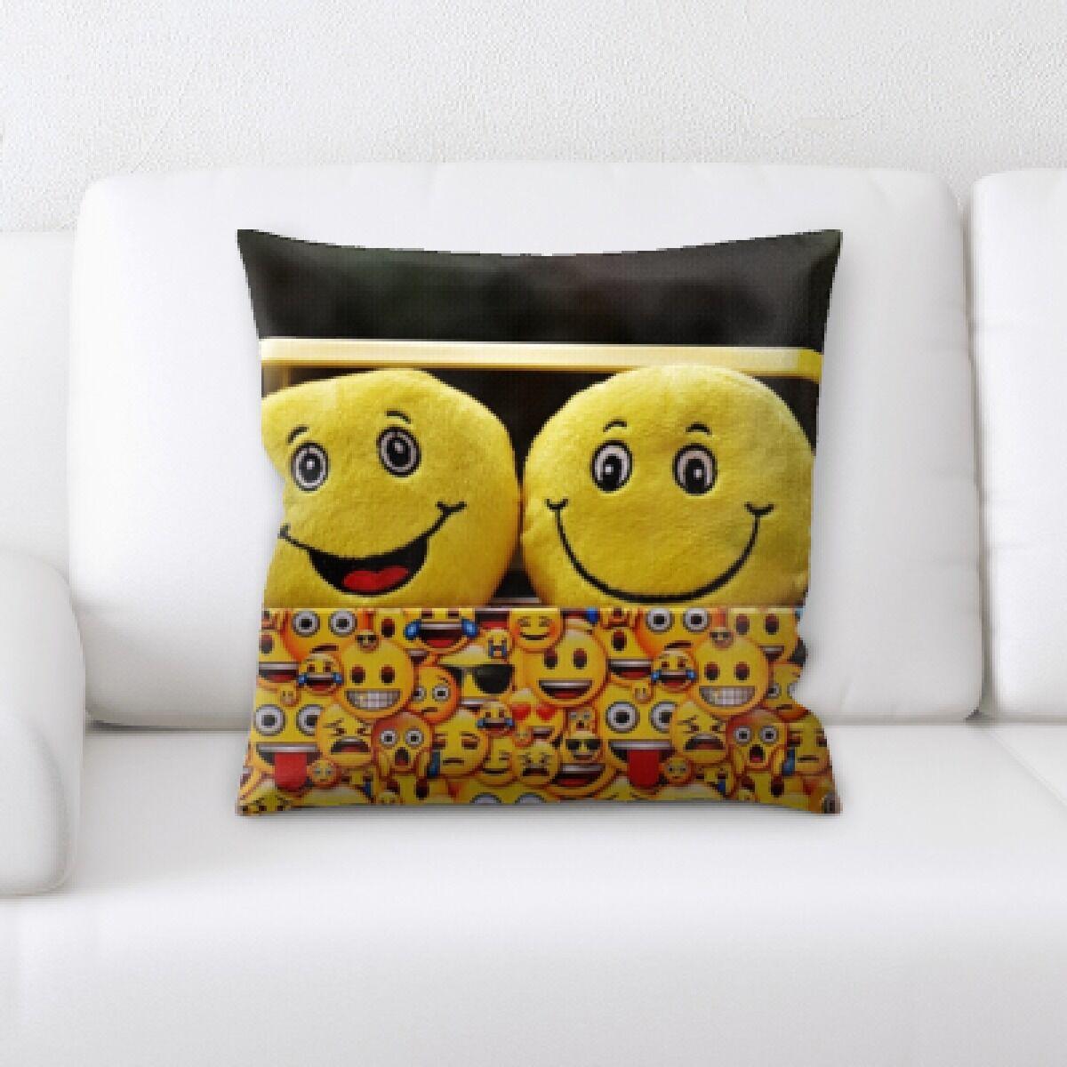 Blanton Joy Feelings Happy Faces In a Box Throw Pillow